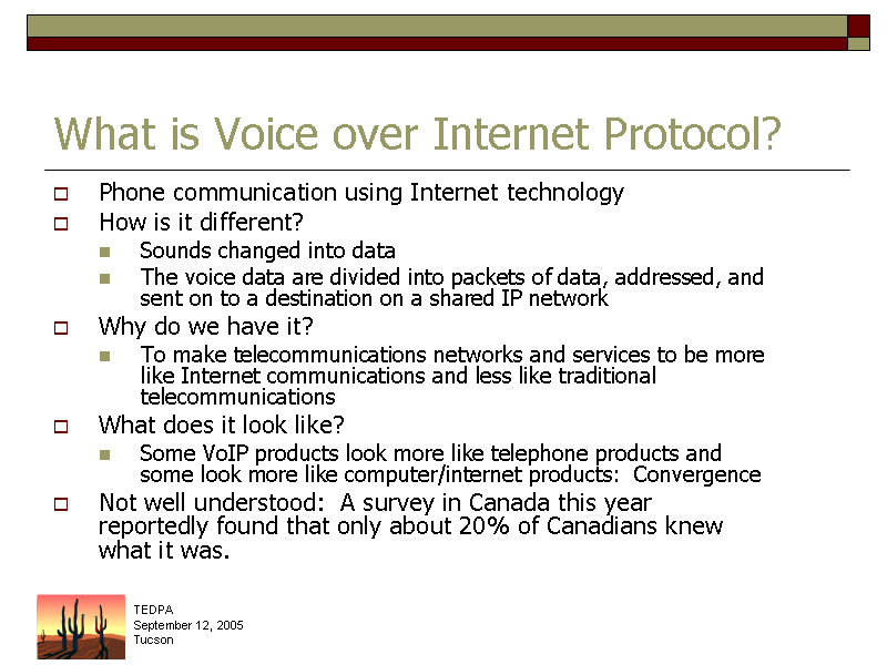 voice over ip essay Objectives use terminology specific to converged networks explain voip (voice over ip) services and their user interfaces explain video-over-ip services and their user interfaces.